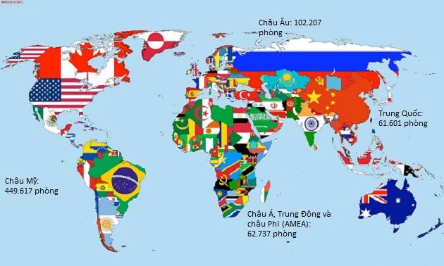 Số phòng khách sạn tính theo châu lục